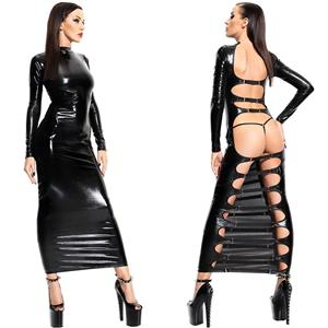 Sultry PVC Cut Out Bodycon Long Dress N12763
