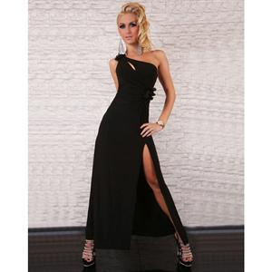 one shoulder sleeveless gown, Sexy Party Maxi Gown, Black Maxi Gown, #N5627
