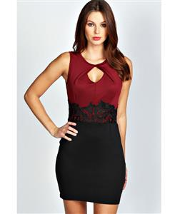 Embroidery Bodycon Mini Casual Dress,  Office Lady Bodycon Dress, Lauren Crochet Waist Bodycon Dress, #N8633