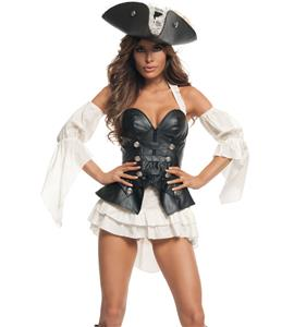 Black Pearl Pirate Costume, PU Leather Pirate Costume, Sexy Pirate Skirt Set, #N9500