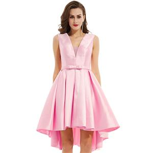 Sleeveless Party Dresses, Pink V Neck Homecoming Dress, Pink High-low Evening Dress, Wedding Guest Dresses, Pink Formal Party Dresses, Sexy Satin Dress for Women, #N15844