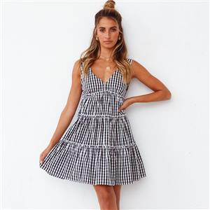 Sexy Vest Dress for Women,Retro Plaid Pattern Print Dress, Gothic Dresses for Women,Cocktail Party Dress, Elegant Party Dress, Vintage V Neck Sleeveless Swing Dresses, A-line Cocktail Party Swing Dresses, High Waist Vest Dress, #N21107