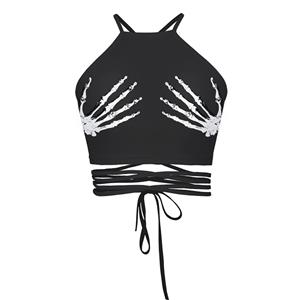 Sexy 3D Skeleton Hands Printed Strappy Bustier Clubwear Halter Crop Top N18231