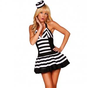 Sexy Prisoner Costume, Sexy Jail Bird Costume, Sexy Inmate Costume, #P3169