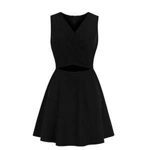 Sexy Pure Black Deep V Neckline Hollow Out Sleeveless High Waist Dress N18579