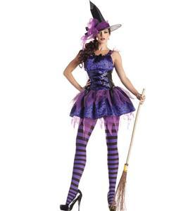 Sexy Purple Classic Starry Night Witch Costume N9389