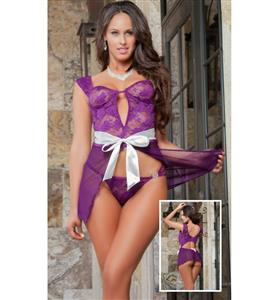 Sexy Purple Straps Lace Babydoll Lingerie N10048