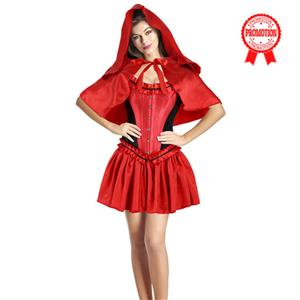 Sexy Luxury Red Black Riding Hood Costume N9947