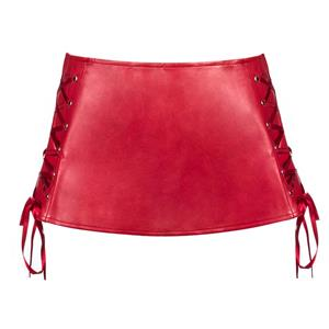 Sexy Red Faux Leather Lace-up Mini Skirt HG11187