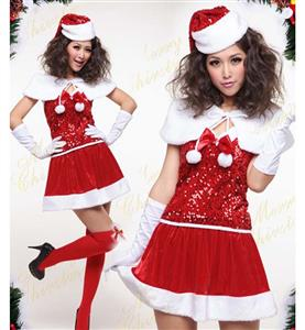 Sexy Red Halter Cosplay Christmas Costume XT9872