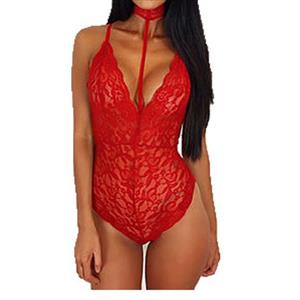 Sleepwear Bodysuit for Women, Sexy Bodysuit Teddy Lingerie Red, Cheap Lace Babysuit Lingerie, Floral Lace Babysuit Lingerie, Red Teddy Lingerie for women, Halter Deep V Teddy Lingerie, #N16572