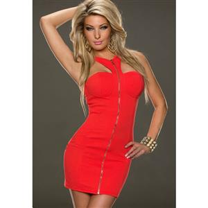 Front Zipper Bodycon Dress, Strapless Tied Neck Dress, Sexy Half Backless Package Hip Dress, #N9392