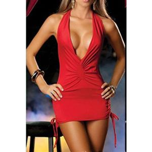 Halter Red Bodycon Dress, Clubwear Plunging Bodycon Dresses, Fashion Red Mini Dress, Cheap Lingerie Mini Dress, Sexy Red Mini Dress, Pole Dancing Red Bodycon Dress, #N17163
