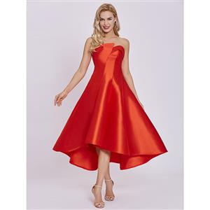 Sleeveless Party Dresses, Strapless Homecoming Dress, Red High-low Evening Dress, Wedding Guest Dresses, Red Formal Party Dresses, Sexy Dress for Women, #N15613