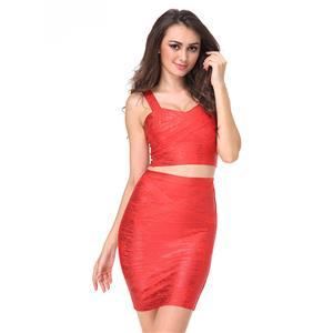 Sexy Skirt Set for Women, Fashion Skirt Set, Bodycon Skirt Set, Sweetheart Neck Bodycon Skirt Set, Red Bodycon Bandage Skirt Set, #N15247