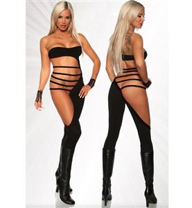 Gogo Cut Out Dancer Catsuit, Black Erotic Gogo Jumpsuit, Strappy Cut Out Overall Bodysuit, #N9105