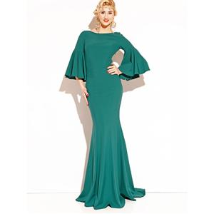 Night Club Party Dress, Fishtail Maxi Dress, Fashion Green Dress, Hot Sale Long Sleeve Dress, Evening Party Dress, #N14357