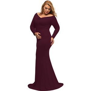 Evening Party Dress, Fishtail Maxi Dress, Fashion Wine Red Dress, Hot Sale Long Sleeve Dress, Plus Size Party Dress, #N14457