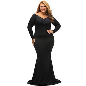 Evening Party Dress, Fishtail Maxi Dress, Fashion Black Dress, Hot Sale Long Sleeve Dress, Plus Size Party Dress, #N14458