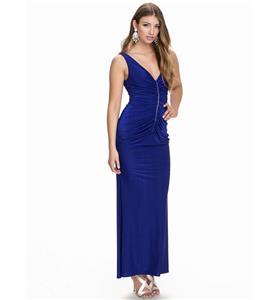 Fashion Royalblue Long Dress, Sexy Deep-V Long Gown, Cheap Ruffles Long Dress, Plus Size Dress, Party Formal Dress, #N10866