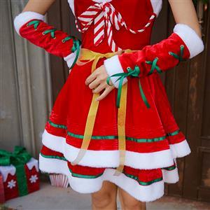 4pcs Women S Candy Cane Sweetheart Bodice Santa Girl Mini
