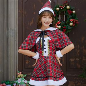 Furry Christmas Mini Dress, Sexy Christmas Costume, Red Checkered Christmas Costume, Christmas Costume for Women, Cute Christmas Skirt, Miss Santa