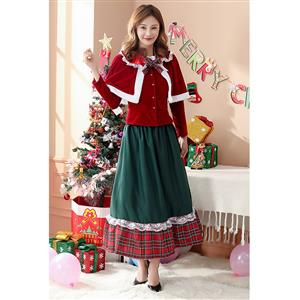 Velvet Long Sleeve Christmas Suit, Sexy Christmas Costume, Red Checkered Christmas Costume, Christmas Costume for Women, Cute Christmas Skirt, Miss Santa