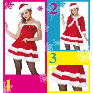 Sexy Christmas Costume, Red Velet Christmas Costume, Christmas Costume for Women, Cute Christmas Dress, Santa Girl Christmas Costume, Santa Girl Christmas Costume Set, Red Velvet Santa Girl Costume Set, #XT18363