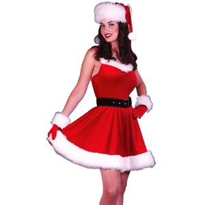 Sexy Christmas Costume, Red Velet Christmas Costume, Christmas Costume for Women, Cute Christmas Dress, Santa Girl Christmas Costume, Santa Girl Christmas Costume Set, Red Velvet Santa Girl Costume Set, #XT18349