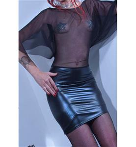 Black Faux Leather Dress, Batwing Sleeves Translucent Dress, Black Tight Dress, #N7692