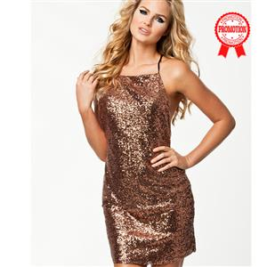 Sexy Sequin Spaghetti Strap Backless Dress N8898