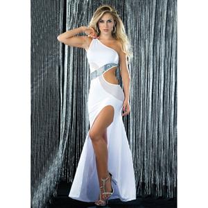 Sexy Sequin and Mesh Swirl Gown, Sexy White Gown, Sexy Gown, #C5234