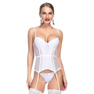 Charming White Sheer Mesh Spaghetti Straps Floral Lace Stretchy Chemise Bridal Bustier Corset N19079