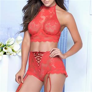 Charming Sheer Floral Lace Halter Lace-up Bra and Panty Lingerie Set N18936