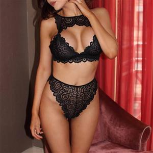 Sexy Lace Bikini Lingerie Set, Fashion Lace Bra Set, 2 Piece Strappy Lingerie Sets, Thin Lace Bra Set Chemise, Floral Lace Bra and Panty Underwear Set, Sexy Floral Lace Bra and Panty Chemise Set, #N18939