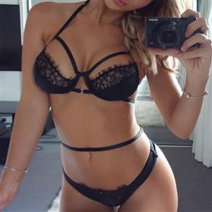 Front Buckle Bra Set, Sexy Lace Bikini Lingerie Set, Fashion Lace Bra Set, 2 Piece Strappy Lingerie Sets, Thin Lace Bra Set Chemise, Floral Lace Bra and Panty Underwear Set, Sexy Floral Lace Bra and Panty Chemise Set, #N18942