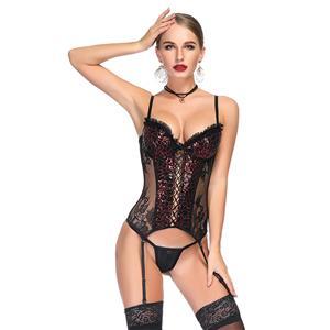 Flirty Bustier Corset, Sexy Floral Lace Bustier Corset, Fashion Body Shaper Corset, Spaghetti Strap Low-cut Bustier Corset, Women