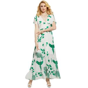 Sexy Short Sleeves Floral Print Pleated Summer Beach Maxi Dress N14001