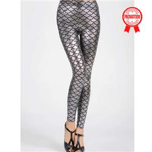Sexy Silver Fish Scale Pattern Low Waist Leggings L10266