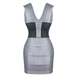Sleeveless Dress, Deep V Neck Dress, Sexy Bodycon Dress, Bodycon Bandage Dress, Sexy Party Dresses for Women, Sliver Dress, Package Hip Dress, Back Zipper Dress, #N15646