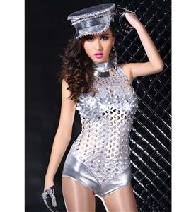 New Sexy Hollow Out Catsuit, Sexy Silver Romper, Women