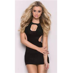 Black Sleeveless Nightgown, Sexy Hollw Out Bodycon Mini Dress, Black Sleeveless Mini Dress, Sexy Night Club Dance Dresses, Sexy Bodycon Night Club Mini Dress, Night Club Mini Dress, #N17947