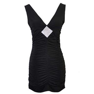 Sexy Women Black Pleats Low-V Neck Sleeveless Mini Bodycon Dress N17986