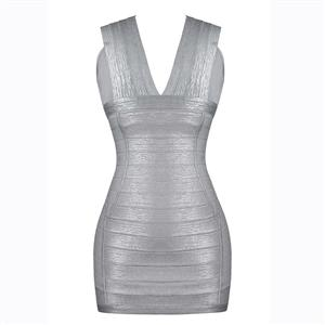 Sleeveless Bodycon Dress, Deep V Neck Dress, Sexy Bodycon Dress, Bodycon Bandage Dress, Sexy Dresses for Women, Solid Color Dress, Back Zipper Dress, #N15632