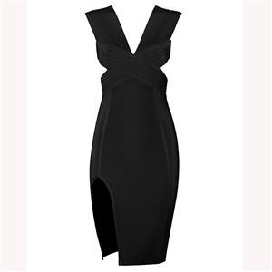 Sleeveless Bodycon Dress, Deep V Neck Dress, Backless Bodycon Dress, Side Cut-out Dress, Slit Dress for Women, Back Conceal Zipper, Sexy Party Dress for Women, #N15224