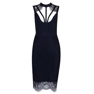 Sleeveless Bodycon Dress, Strappy Dress, Lace Dress for Women, Backless Bodycon Dress, Slit Dress for Women, Back Zipper Dress, Sexy Party Dress for Women, #N15242