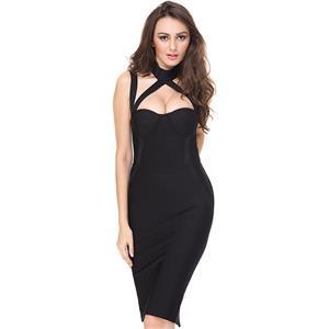 Bandage Bodycon Dress, Black Low Cup Bandage Dress, Midi Backless Bandage Dress, Sleeveless Strappy Bandage Dress, Sexy Bandage Dress for Women, Club Dress for Women, #N15150