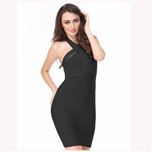 Sleeveless Strapless Dress, Halter Mesh Panel Dress, Back Zipper Dress, Backless Bodycon Dress, Sexy Party Dress for Women, Bodycon Bandage Dress, #N15179