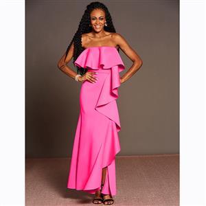 Sleeveless Dress, Off Shoulder Dress, High Split Dresses, Party Dresses for Women, Maxi Dress, Falbala Dress, Sexy Dresses for Women, Solid Color Dresses, #N15593
