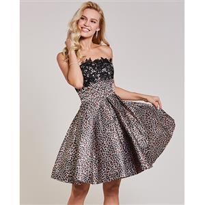 Sleeveless Dresses, Strapless Dress, Leopard Print Dress, Appliques Dress, Cocktail Dress, Ruffled Dress, Sexy Dress for Women, Zipper Dress, #N15395